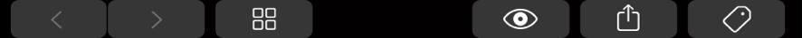 TouchBar med knappar som hör till Finder, till exempel taggknappen.