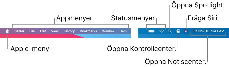 Menyraden. Till vänster finns Apple-menyn och appmenyer. Till höger finns statusmenyer, Spotlight, Kontrollcenter, Siri och Notiscenter.