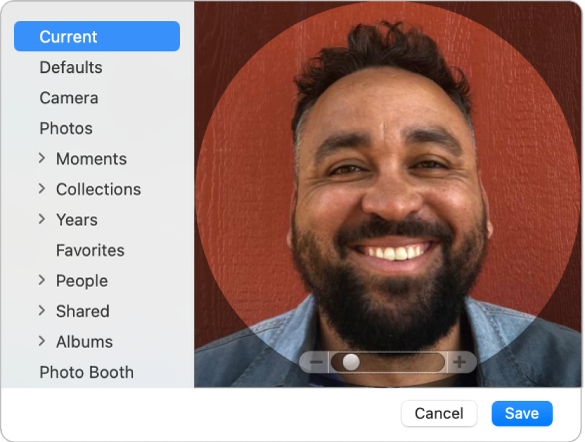 Bilddialogruta för Apple‑ID där en bild lagts till för att representera användarens Apple‑ID.