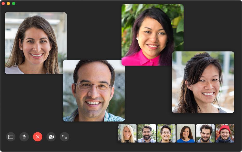 หน้าต่าง FaceTime ที่แสดงผู้เข้าร่วมในการโทรแบบกลุ่ม