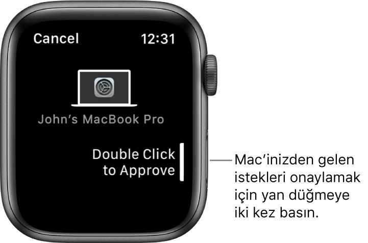 MacBook Pro'dan onay isteği gösteren Apple Watch.