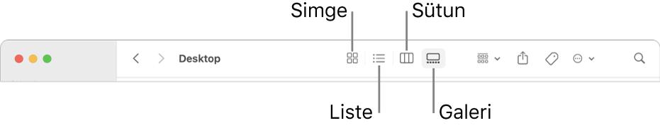 Bir Finder penceresinin, klasör için görüntü seçeneği düğmelerini gösteren üst bölümü.