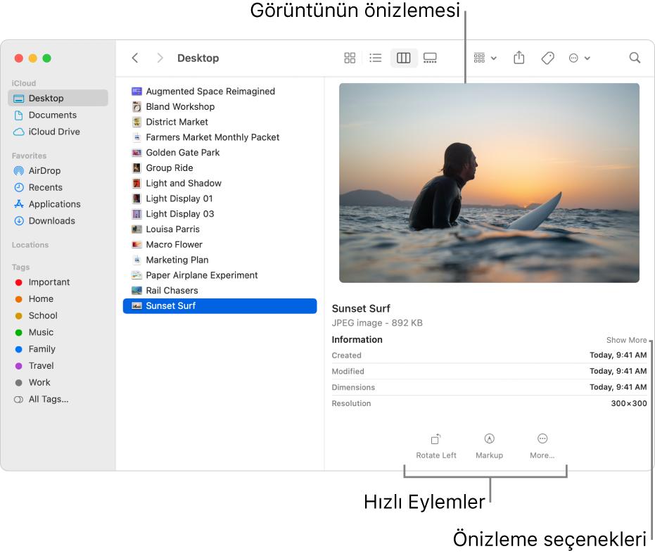 Solda Finder kenar çubuğunu ve pencerenin ortasında seçili bir görüntü dosyasını gösteren Finder penceresi. Sağ taraftaki Önizleme bölümü görüntünün neye benzediğini, bunun altında görüntü ayrıntılarını ve en altta da Hızlı Eylemler düğmelerini gösteriyor.