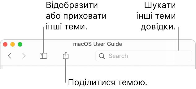 Вікно довідки з кнопками на панелі інструментів для приховання й показу змісту, кнопкою для поширення теми та полем пошуку тем.