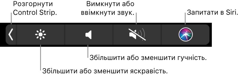 Згорнута Control Strip з кнопками (зліва направо), які призначені для розгортання стрічки, збільшення та зменшення яскравості й гучності, вимкнення та ввімкнення звуку, а також запитів до Siri.