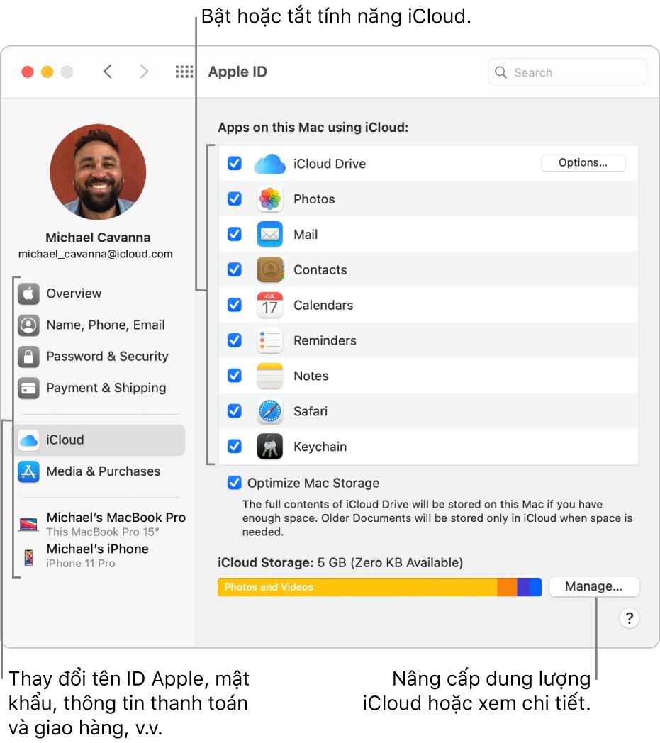 Các tùy chọn iCloud với tất cả các tính năng được chọn.
