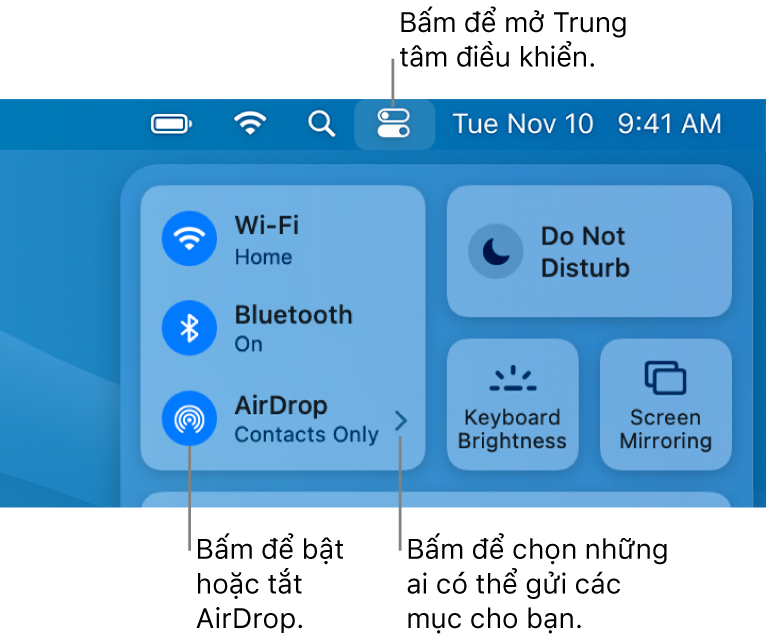 Cửa sổ Trung tâm điều khiển đang hiển thị các điều khiển để bật hoặc tắt AirDrop cũng như chọn những người có thể gửi các mục cho bạn.