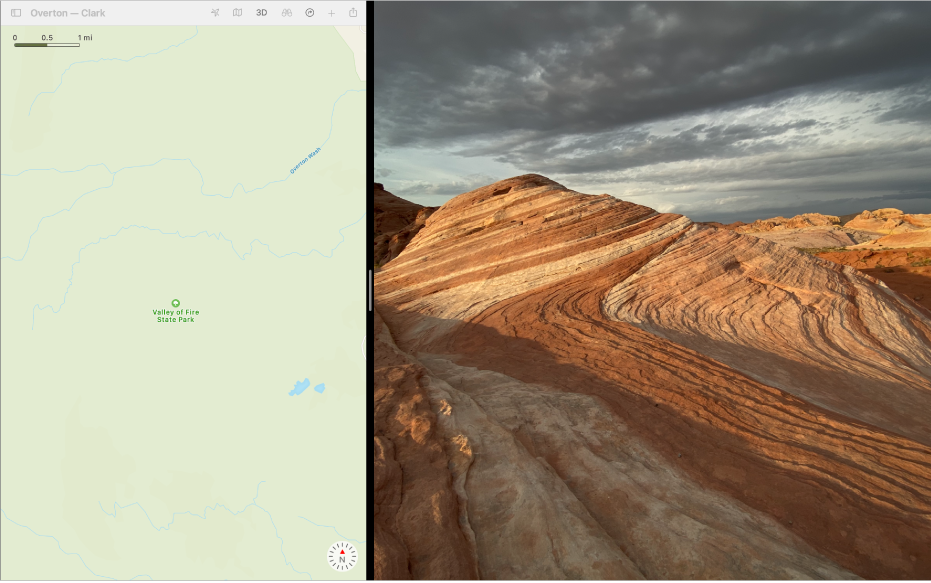 分屏浏览视图中并排显示的两个 App。
