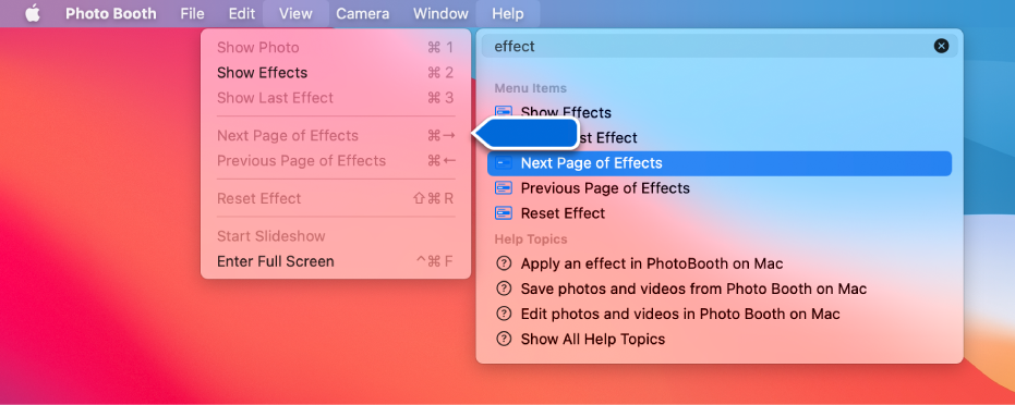 """Photo Booth 帮助""菜单,显示选中了一个菜单项的搜索结果,同时箭头指向 App 菜单中的这一项。"