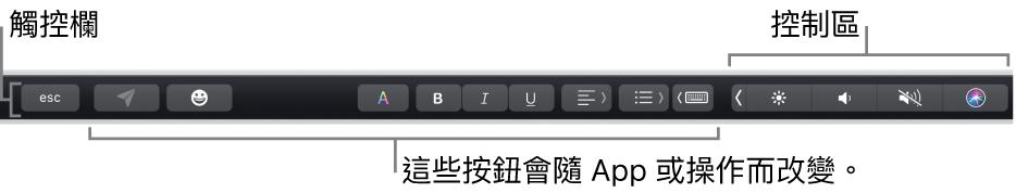 橫跨在鍵盤最上的「觸控欄」,在左側顯示會隨 App 或工作而變化的按鈕,以及在右側顯示收合起來的「控制區」。