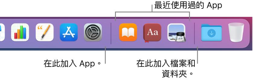Dock 的最右邊顯示分隔線,其後是最近使用過的 App 的區域。