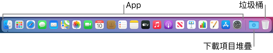 Dock 顯示 App 圖像、「下載項目」疊放以及「垃圾桶」。