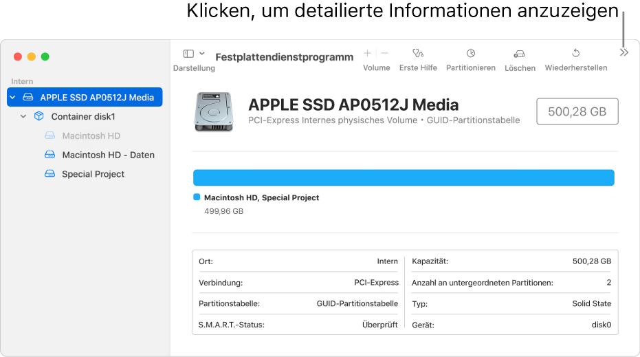 Fenster des Festplattendienstprogramms mit einem ausgewählten Speichergerät in der Seitenleiste; auf der rechten Seite werden die zugehörigen Informationen zu dem Gerät angezeigt.