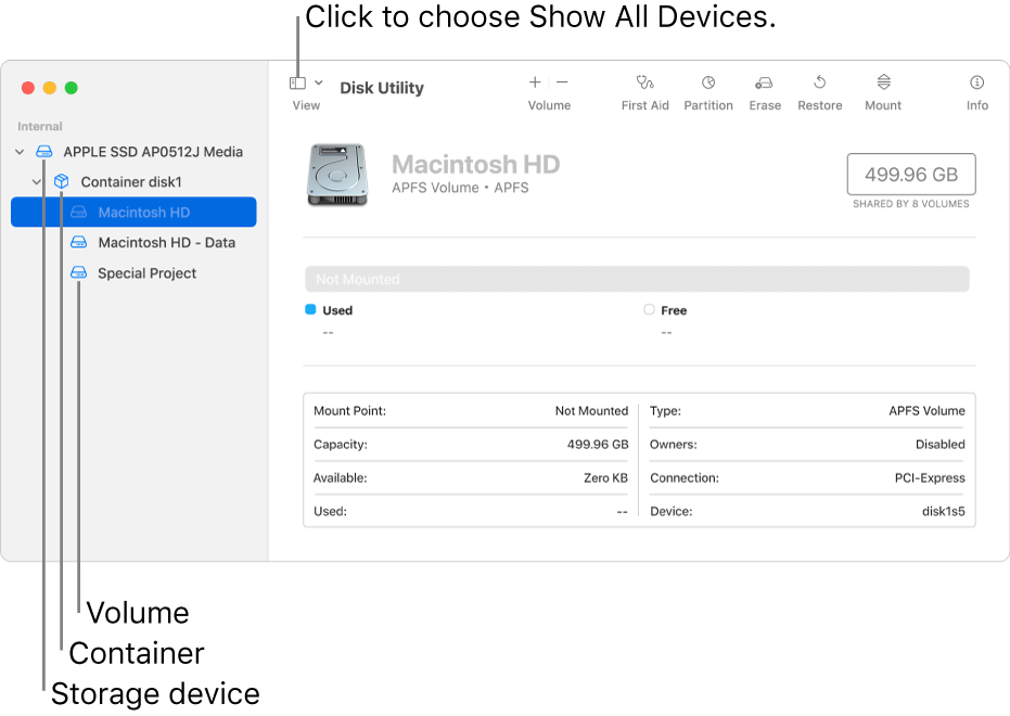A Disk Utility window, showing three volumes, a container and a storage device in Show All Devices view.