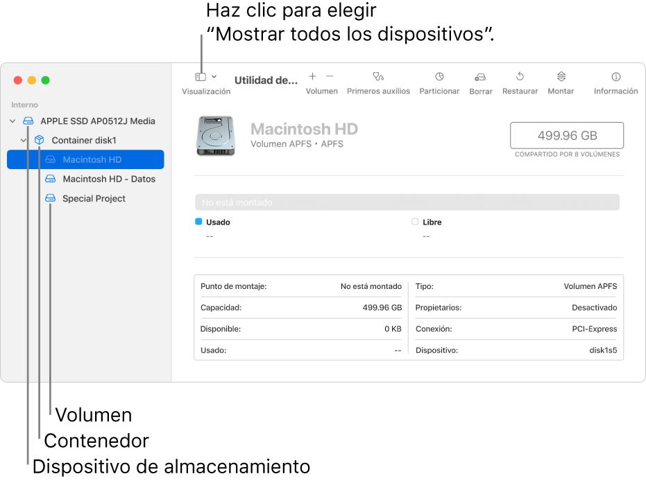 """La ventana Utilidad de Discos mostrando tres volúmenes, un contenedor y un dispositivo de almacenamiento en la visualización """"Mostrar todos los dispositivos""""."""