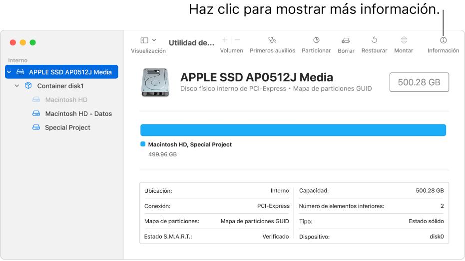 La ventana Utilidad de Discos mostrando un dispositivo de almacenamiento seleccionado en la barra lateral e información sobre el dispositivo a la derecha.