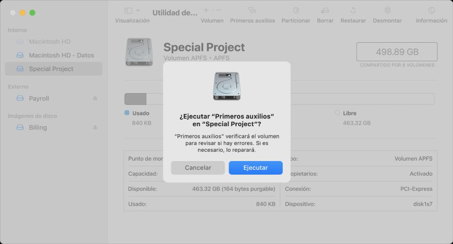 """La ventana Utilidad de Discos con el diálogo de confirmación """"Primeros auxilios""""."""