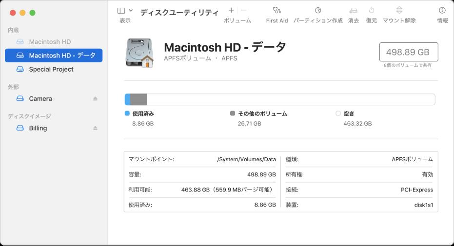 「ディスクユーティリティ」ウインドウ。内蔵ディスクのAPFSボリューム、外付けディスクのボリューム、ディスクイメージが表示されています。