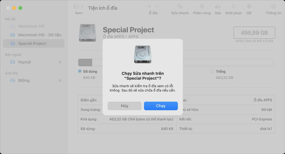 Cửa sổ Tiện ích ổ đĩa đang hiển thị hộp thoại xác nhận Sửa nhanh.