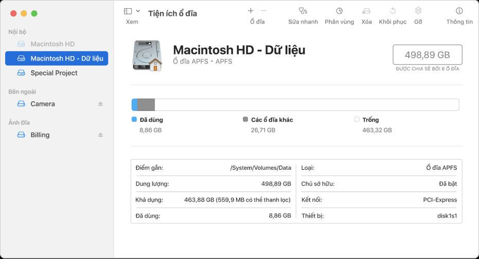 Cửa sổ Tiện ích ổ đĩa với chế độ xem Chỉ hiển thị ổ đĩa được chọn. Thanh bên ở bên trái hiển thị ba ổ đĩa trong, một ổ đĩa ngoài và một ổ đĩa ảnh đĩa. Khung ở bên phải hiển thị thông tin chi tiết về ổ đĩa được chọn.