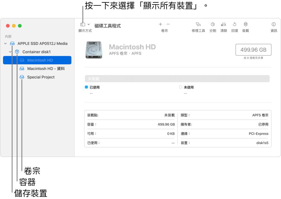 「磁碟工具程式」視窗,在「顯示所有裝置」顯示方式中顯示三個卷宗、一個容器和一個儲存裝置。