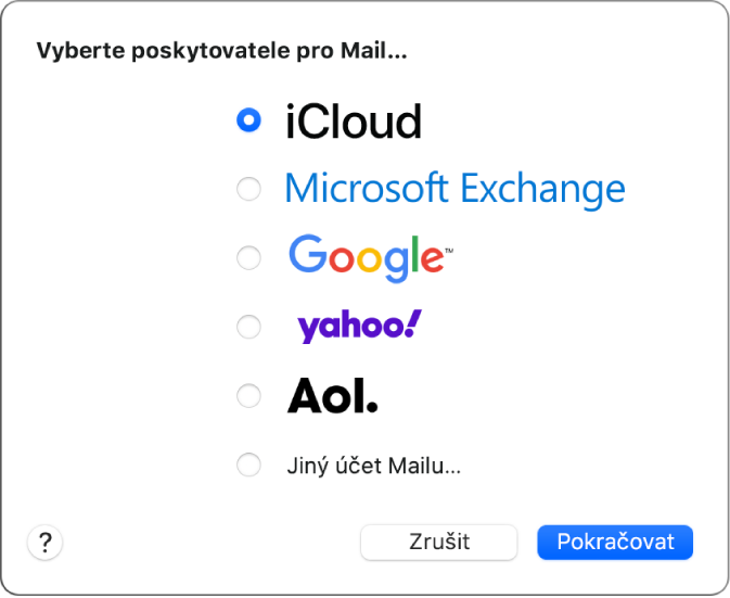 Dialogové okno umožňující volbu typu účtu, ve kterém je zobrazena nabídka účtů iCloud, Google, Yahoo, AOL aJiného účtu Mailu.