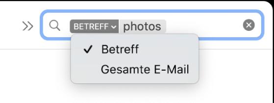 """Ein Suchfilter, bei dem auf den Abwärtspfeil geklickt wurde, um zwei Optionen anzuzeigen: """"Betreff"""" und """"Gesamte E-Mail"""". """"Betreff"""" ist ausgewählt."""