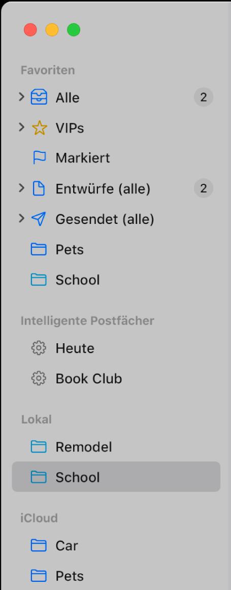 """Die Seitenleiste von Mail mit den Standardpostfächern (""""Eingang"""", """"Entwürfe"""" usw.) oben in der Seitenleiste und Postfächern, die lokal auf dem Mac oder in iCloud erstellt wurden."""
