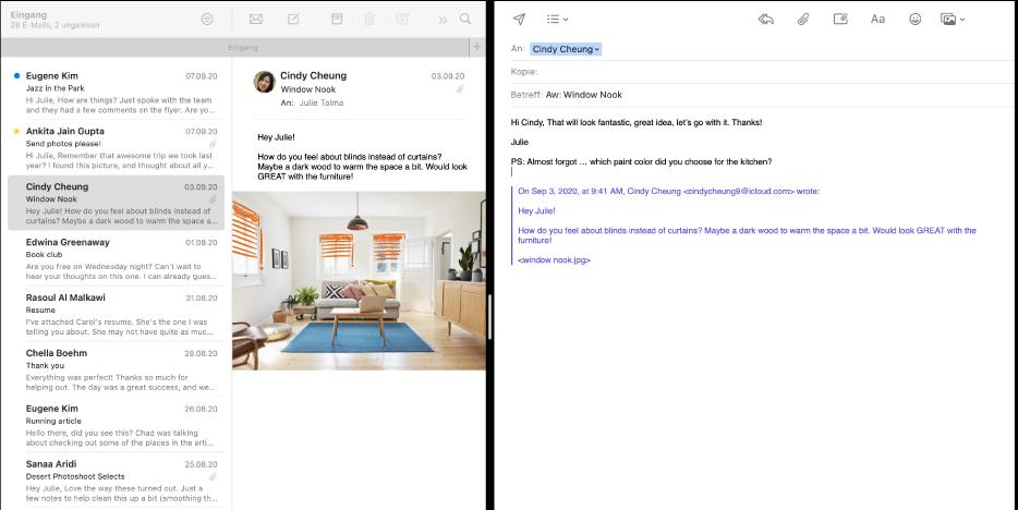 Split View mit der E-Mail-Liste neben dem Fenster zum Erstellen einer neuen Nachricht.