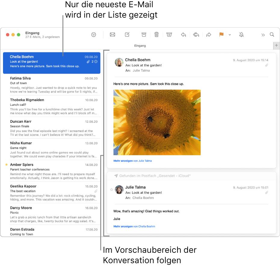In diesem Fall wird in der E-Mail-Liste nur die jeweils jüngste/letzte E-Mail der jeweiligen Konversation angezeigt. Eine Zahl oben in der E-Mail gibt an, wie viele der E-Mails der Konversation sich im aktuellen Postfach befinden. Im Vorschaubereich kannst du der Konversation folgen.