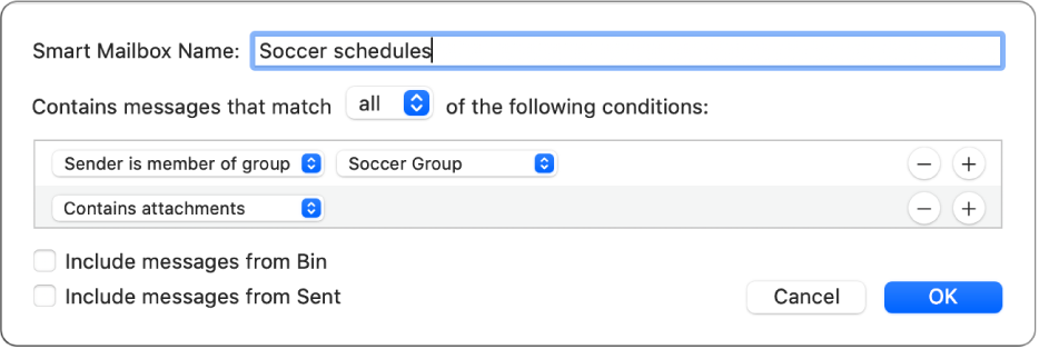 """The Smart Group window showing criteria for a group named """"Soccer schedules"""". The group has two conditions. The first condition has two criteria, shown from left to right: """"Sender is member of group"""" (selected in a pop-up menu) and Soccer Group (selected in a pop-up menu). The second condition has one criteria: """"Contains attachments"""" (selected in a pop-up menu)."""
