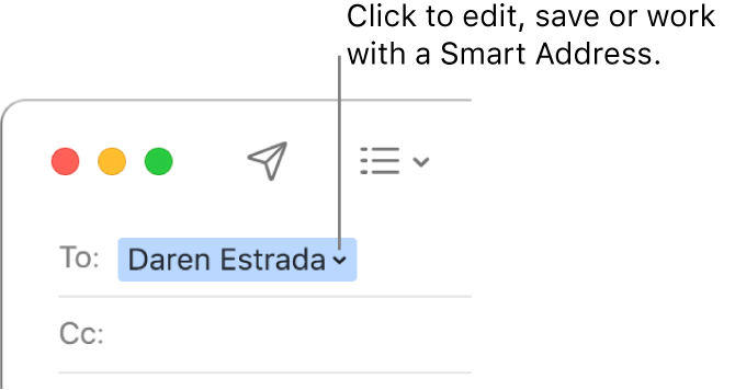 A Smart Address with the arrow you can click to edit, save or work with a Smart Address.