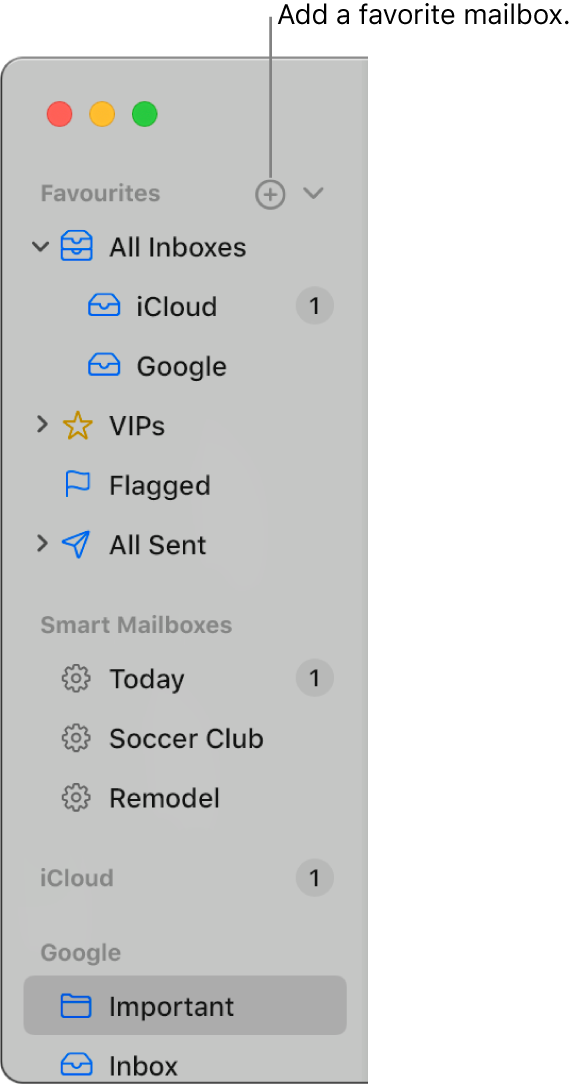 The Mail sidebar showing different accounts and mailboxes, and sections such as Favourites and Smart Mailboxes. At the top of the sidebar, click the button to the right of Favourites to add a mailbox to that section.