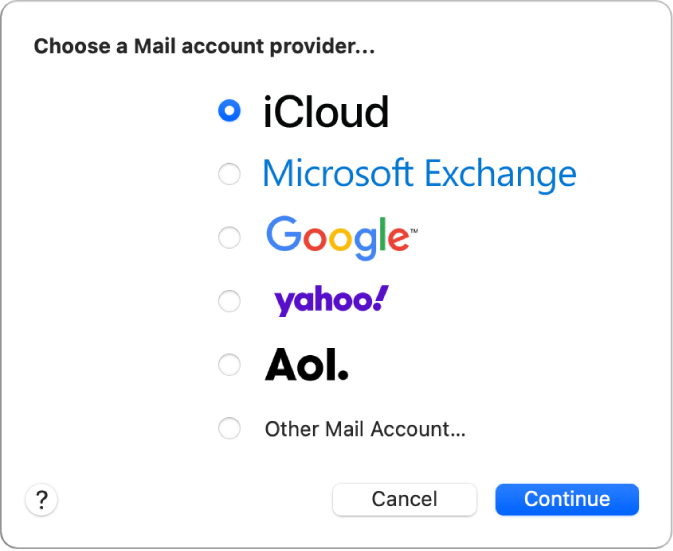 The dialog to choose an email account type, showing iCloud, Exchange, Google, Yahoo, AOL, and Other Mail Account.