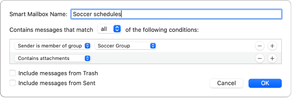 "The Smart Group window showing criteria for a group named ""Soccer schedules."" The group has two conditions. The first condition has two criteria, shown from left to right: ""Sender is member of group"" (selected in a pop-up menu) and Soccer Group (selected in a pop-up menu). The second condition has one criteria: ""Contains attachments"" (selected in a pop-up menu)."