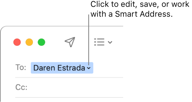 A Smart Address with the arrow you can click to edit, save, or work with a Smart Address.