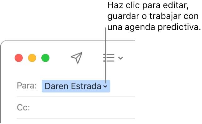Una agenda predictiva con una flecha en la que puedes hacer clic para editar, guardar o trabajar con Agenda predictiva.