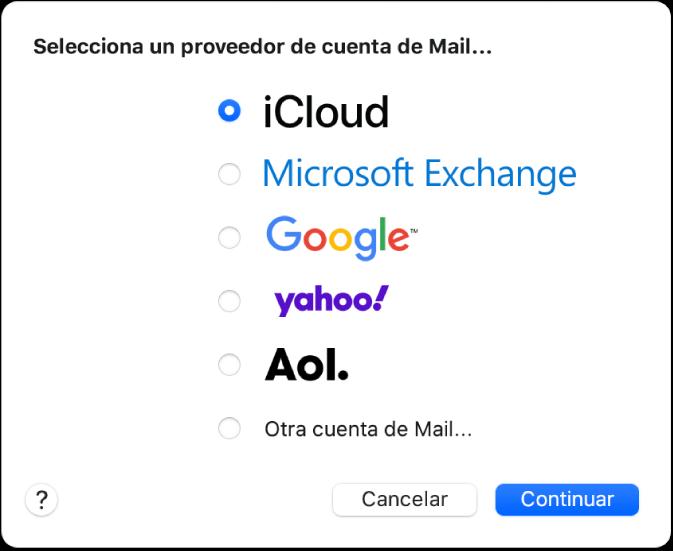 """El diálogo para seleccionar un tipo de cuenta de correo mostrando iCloud, Exchange, Google, Yahoo, AOL y """"Otra cuenta de Mail""""."""