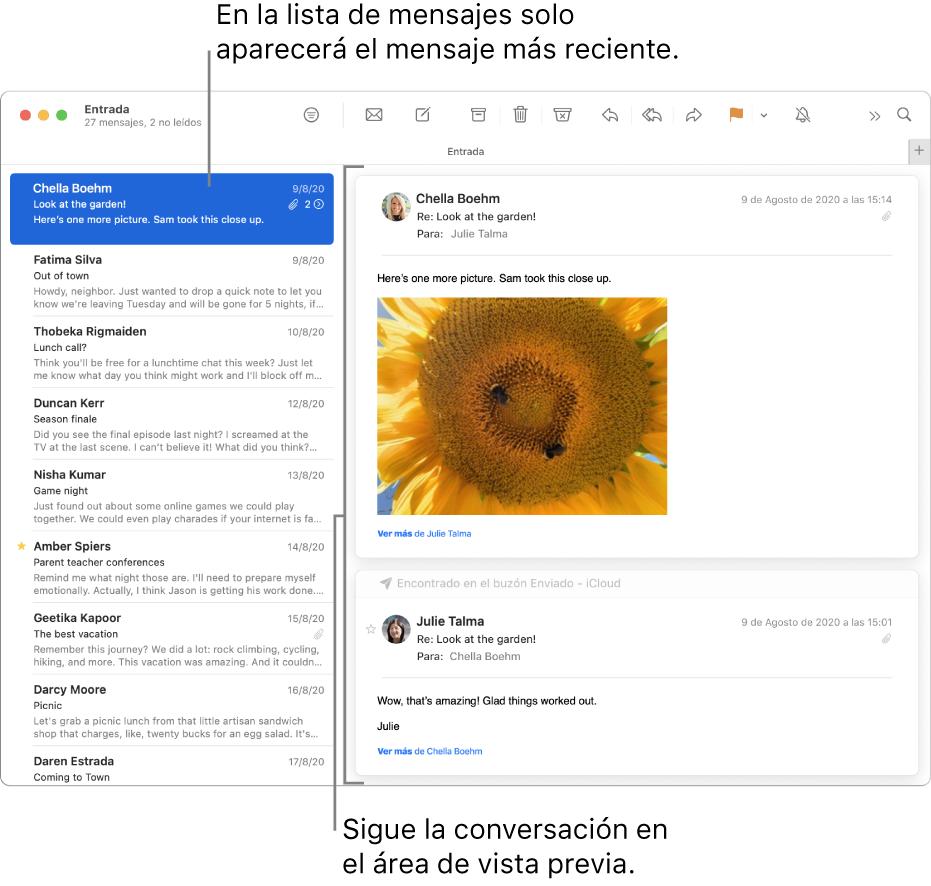 De este modo, en la lista de mensajes solamente se muestra el mensaje más reciente de cada conversación. Un número en el mensaje superior indica cuántos mensajes de la conversación se encuentran en el buzón actual. Siga la conversación en el área de previsualización.