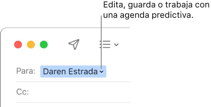 Agenda predictiva con la flecha en la que puedes hacer clic para editar, guardar o trabajar con una agenda predictiva.