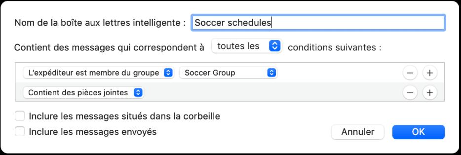 La fenêtre Groupe intelligent qui affiche les critères d'un groupe nommé «Horaires de soccer». Le groupe a deux conditions. La première condition comporte deux critères, affichés de gauche à droite: «L'expéditeur est membre du groupe» (sélectionné dans un menu contextuel) et Groupe de soccer (sélectionné dans un menu contextuel). La deuxième condition comporte un seul critère: «Contient des pièces jointes» (sélectionné dans un menu contextuel).