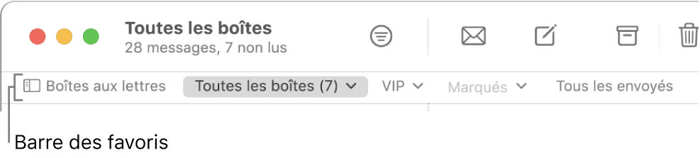 La barre des favoris comprenant le bouton «Boîtes aux lettres» et les boutons permettant d'accéder aux boîtes aux lettres favorites, telles que les boîtes VIP et Marqués.