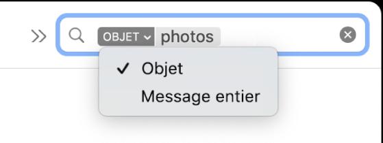 Un filtre de recherche avec la flèche vers le bas développée affichant deux options: Objet et «Message entier». Objet est sélectionné.