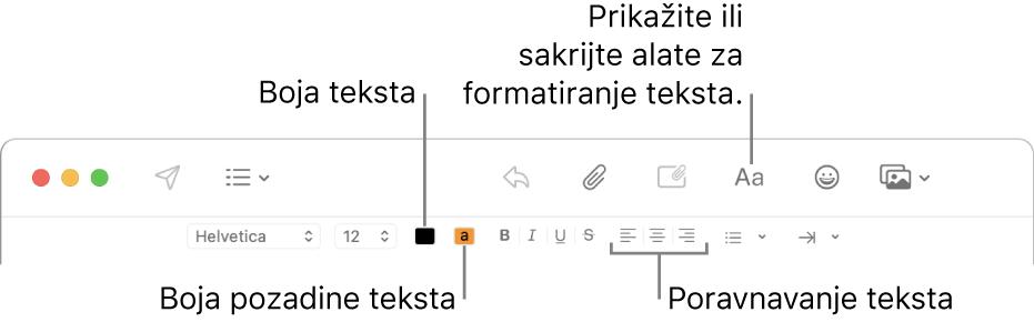 Alatna traka i traka formatiranja u novom prozoru poruke označavaju boju teksta, pozadinsku boju teksta i tipke za poravnavanje teksta.