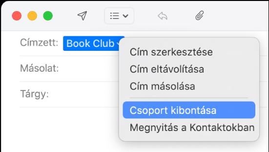 E-mail; a Címzett mezőben csoport látható, és az előugró menüben pedig a Csoport kibontása parancs.