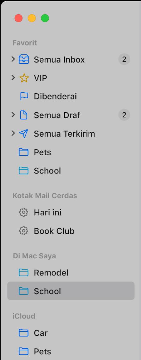 Bar samping Mail menampilkan kotak mail standar (seperti Inbox dan Draf) di bagian atas bar samping dan kotak mail yang Anda buat di bagian Di Mac Saya dan iCloud.