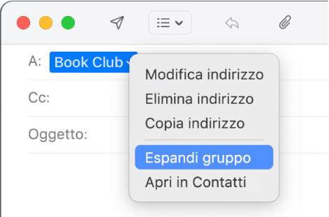 """E-mail che include un gruppo nel campo A e il menu a comparsa che mostra il comando """"Espandi gruppo""""."""