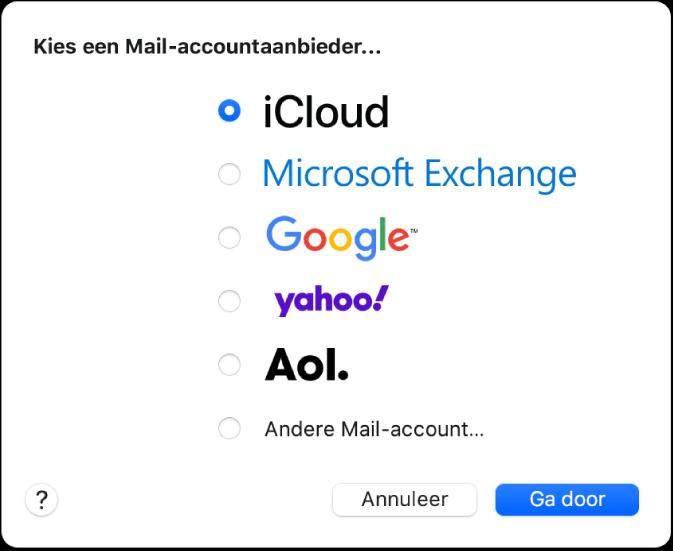Het dialoogvenster voor het kiezen van een accounttype met de opties iCloud, Exchange, Google, Yahoo, AOL en 'Andere Mail-account'.