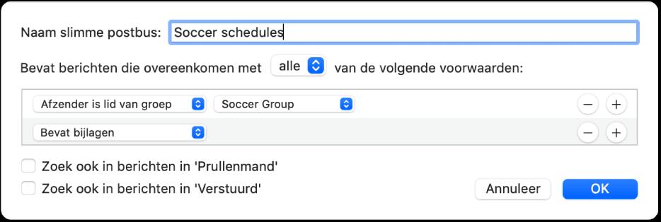 """Het venster van de slimme groep met criteria voor een groep met de naam """"Soccer schedules"""" (Voetbaltrainingen). De groep heeft twee voorwaarden. De eerste voorwaarde heeft twee criteria. Van links naar rechts zijn dit: 'Afzender is lid van groep' (geselecteerd in een venstermenu) en 'Soccer Group' (Voetbalteam) (geselecteerd in een venstermenu). De tweede voorwaarde heeft één criterium: 'Bevat bijlagen' (geselecteerd in een venstermenu)."""