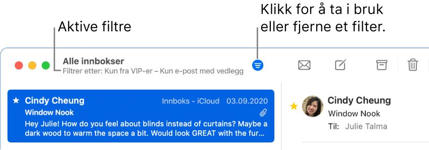 Mail-vinduet, som viser verktøylinjen over meldingslisten, der Mail angir hvilke filtre som er aktivert, for eksempel «Kun fra VIP-er».